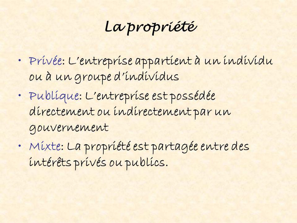 La propriété Privée: L'entreprise appartient à un individu ou à un groupe d'individus Publique: L'entreprise est possédée directement ou indirectement