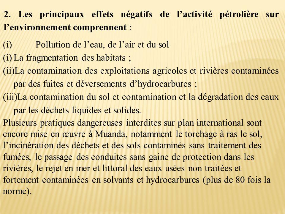 2. Les principaux effets négatifs de l'activité pétrolière sur l'environnement comprennent : (i) Pollution de l'eau, de l'air et du sol (i)La fragment