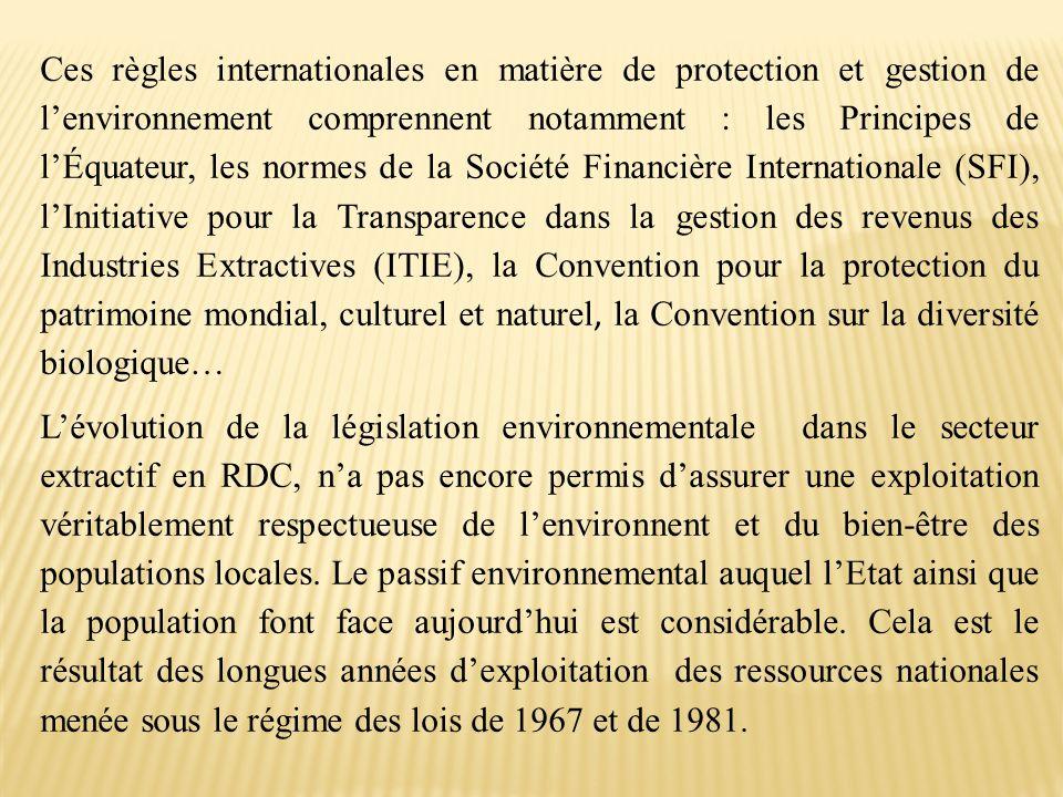 Ces règles internationales en matière de protection et gestion de l'environnement comprennent notamment : les Principes de l'Équateur, les normes de l