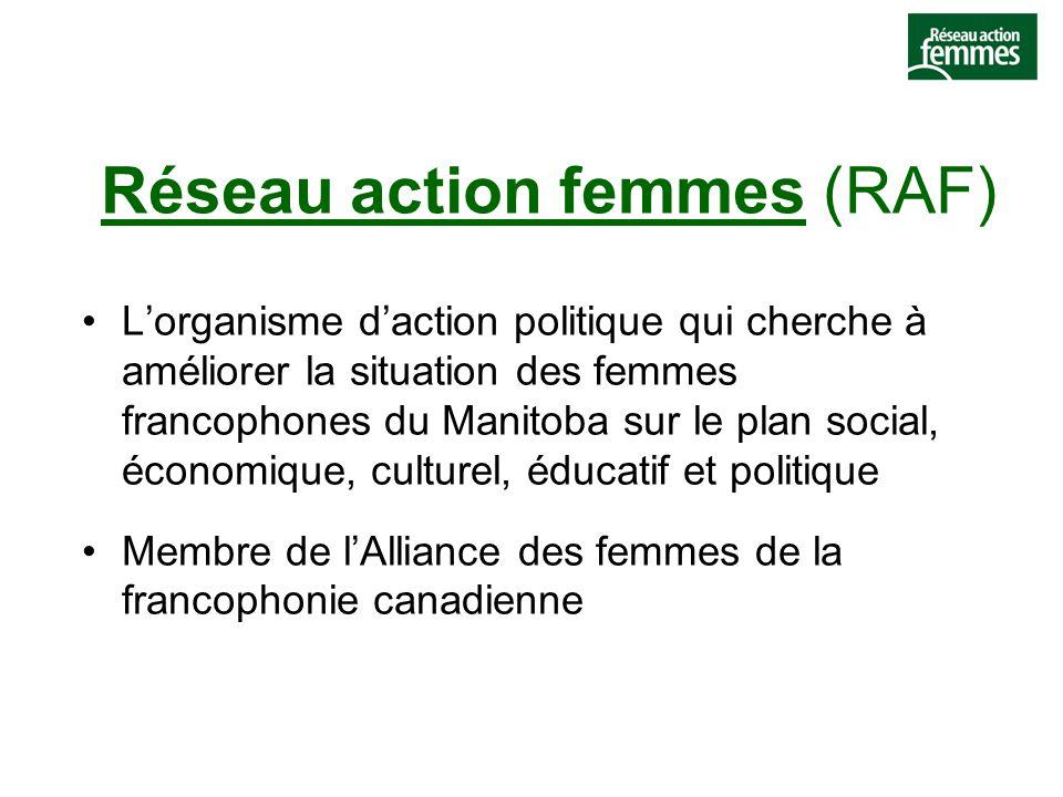 Réseau action femmes (RAF) L'organisme d'action politique qui cherche à améliorer la situation des femmes francophones du Manitoba sur le plan social, économique, culturel, éducatif et politique Membre de l'Alliance des femmes de la francophonie canadienne