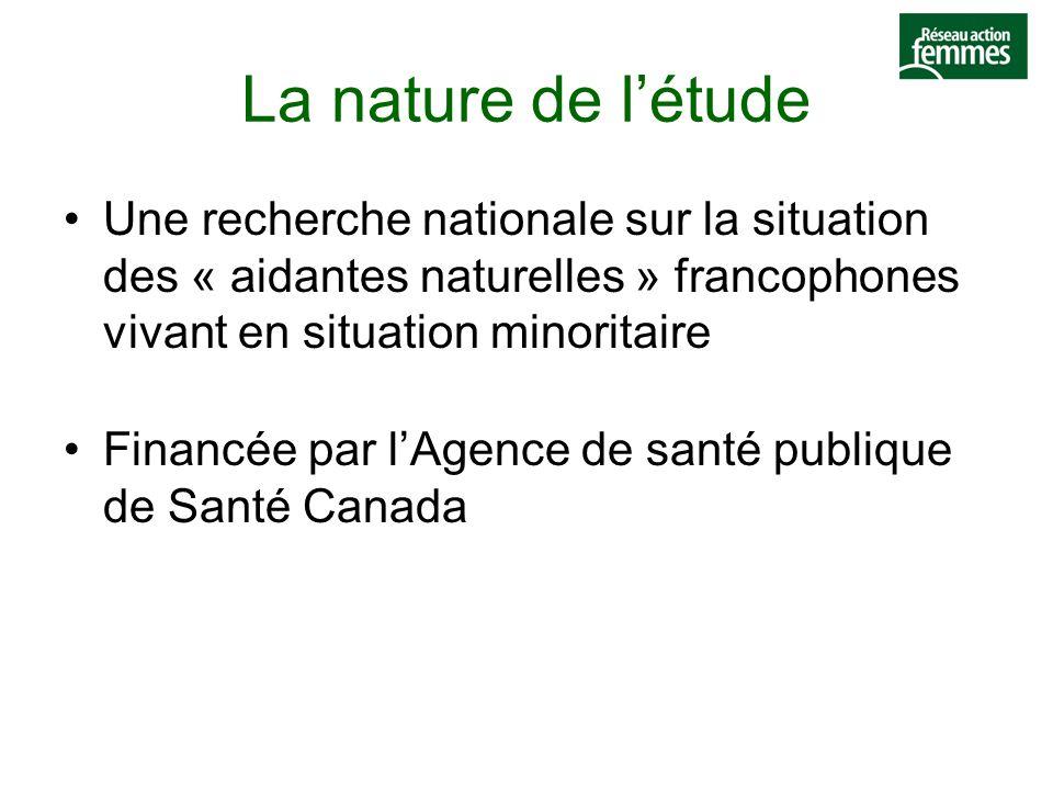 La nature de l'étude Une recherche nationale sur la situation des « aidantes naturelles » francophones vivant en situation minoritaire Financée par l'Agence de santé publique de Santé Canada