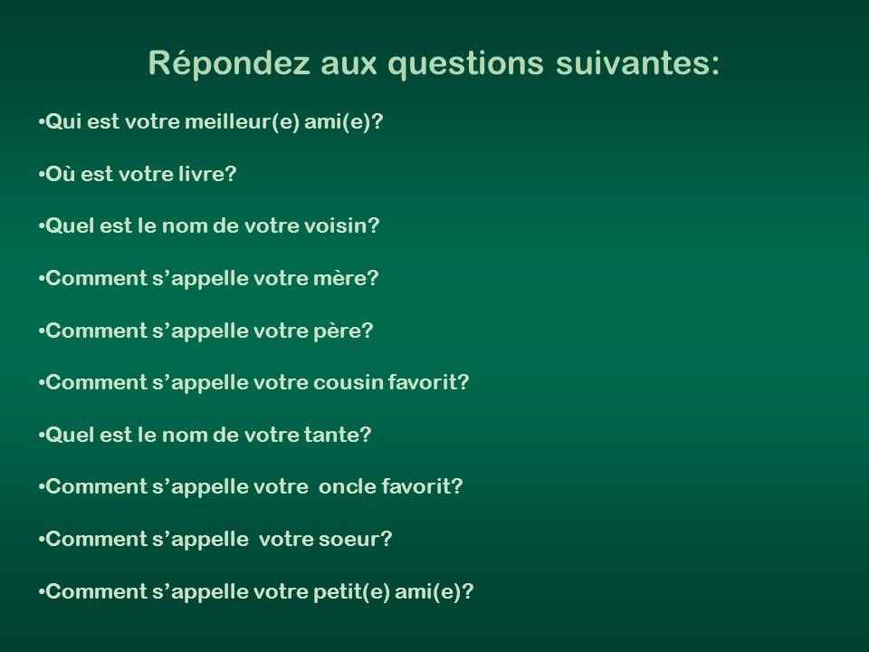 Write five sentences using the verb AVOIR and the first person possessive pronoun (mon, ma, mes).