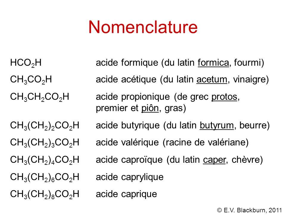 © E.V. Blackburn, 2011 acide -ique ou oïque à -amide Nomenclature des amides