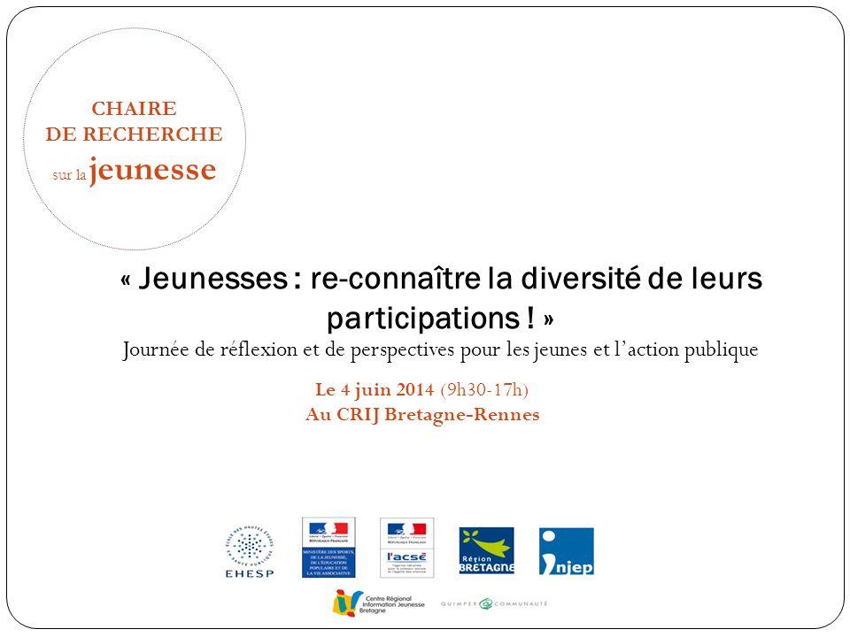 CHAIRE DE RECHERCHE sur la jeunesse « Jeunesses : re-connaître la diversité de leurs participations ! » Journée de réflexion et de perspectives pour l