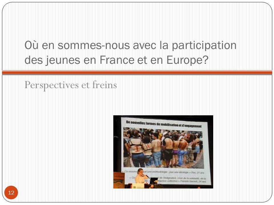 Où en sommes-nous avec la participation des jeunes en France et en Europe? Perspectives et freins 12