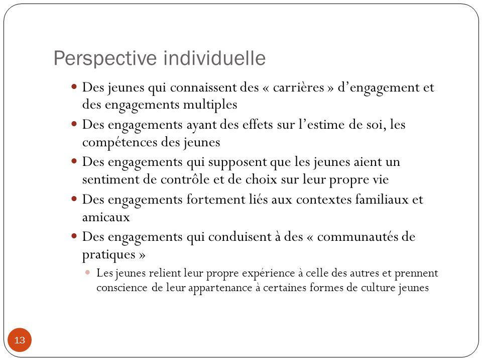 Perspective individuelle Des jeunes qui connaissent des « carrières » d'engagement et des engagements multiples Des engagements ayant des effets sur l
