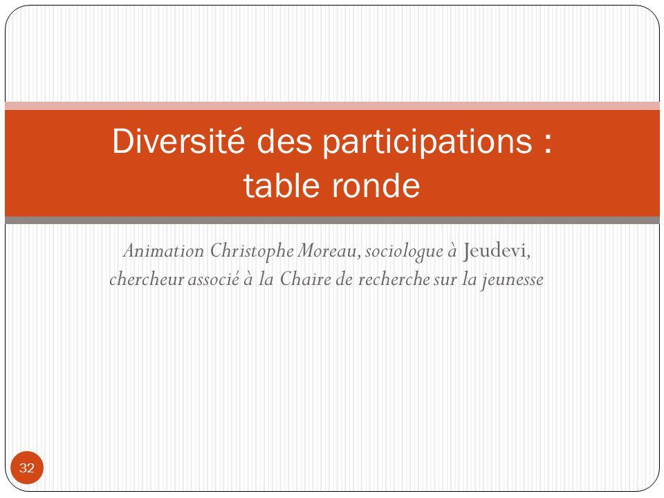Animation Christophe Moreau, sociologue à Jeudevi, chercheur associé à la Chaire de recherche sur la jeunesse 32 Diversité des participations : table