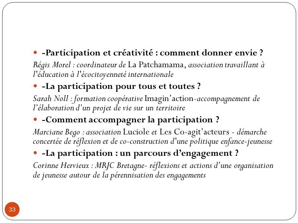 33 -Participation et créativité : comment donner envie ? Régis Morel : coordinateur de La Patchamama, association travaillant à l'éducation à l'écocit