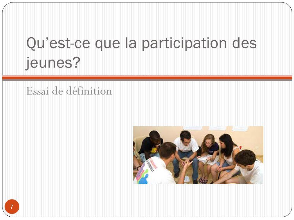Qu'est-ce que la participation des jeunes? Essai de définition 7
