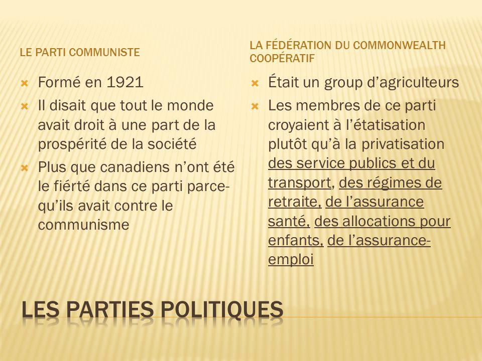 LE PARTI COMMUNISTE LA FÉDÉRATION DU COMMONWEALTH COOPÉRATIF  Formé en 1921  Il disait que tout le monde avait droit à une part de la prospérité de