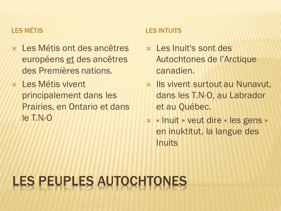 LES MÉTISLES INTUITS  Les Métis ont des ancêtres européens et des ancêtres des Premières nations.  Les Métis vivent principalement dans les Prairies