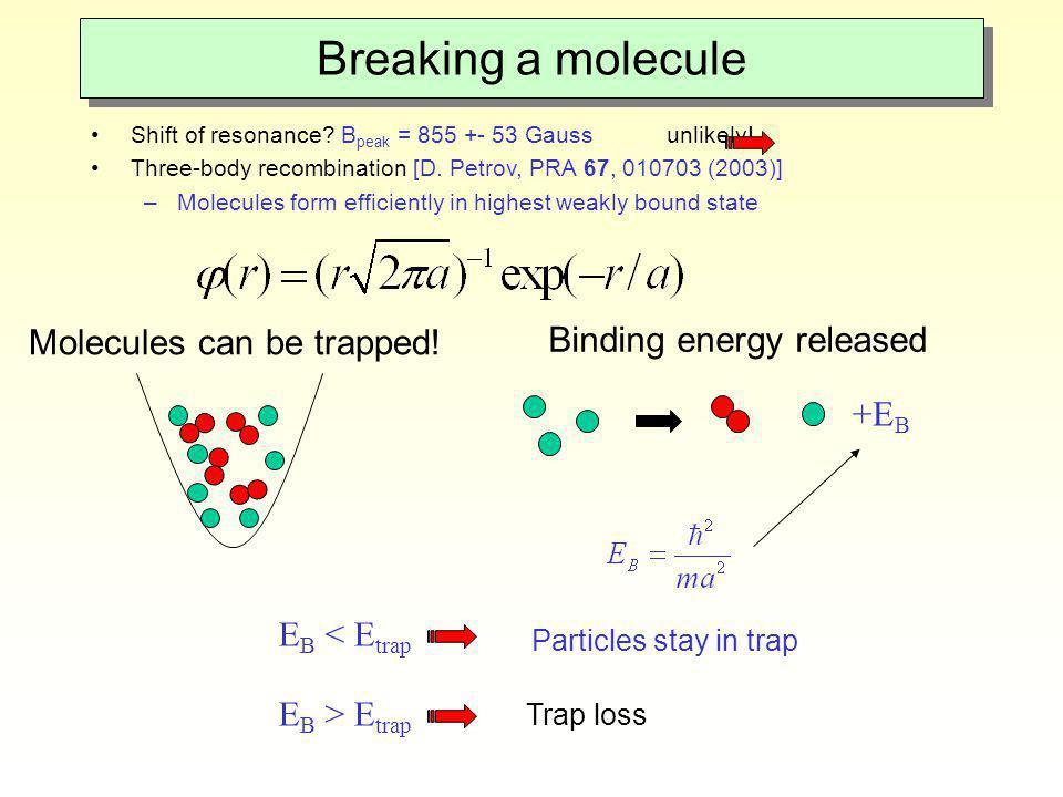 Breaking a molecule Shift of resonance? B peak = 855 +- 53 Gauss unlikely! Three-body recombination [D. Petrov, PRA 67, 010703 (2003)] –Molecules form