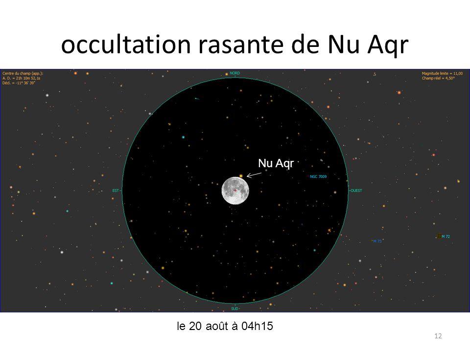 occultation rasante de Nu Aqr 12 Mars Mercure Mars Mercure 62 Psc Delta Psc 21 Sgr le 20 août à 04h15 Nu Aqr