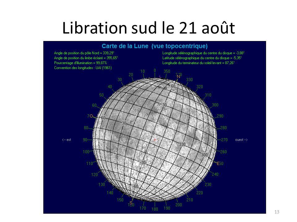 Libration sud le 21 août 13 Alhéna Lambda Gem