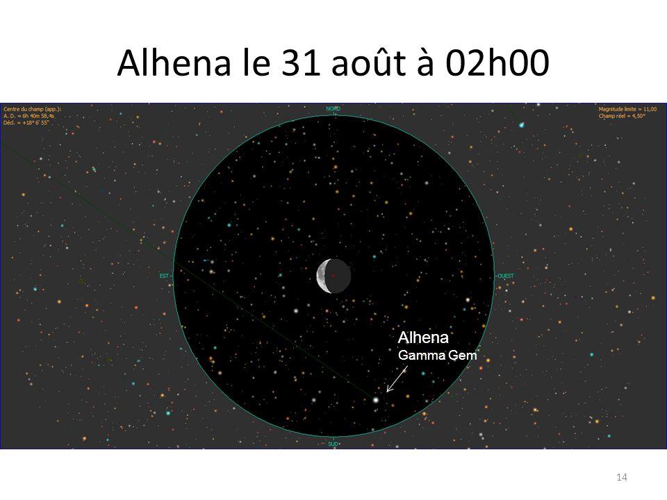 Alhena le 31 août à 02h00 14 Mars Mercure Mars Mercure 62 Psc Delta Psc Dabih Alhena Gamma Gem