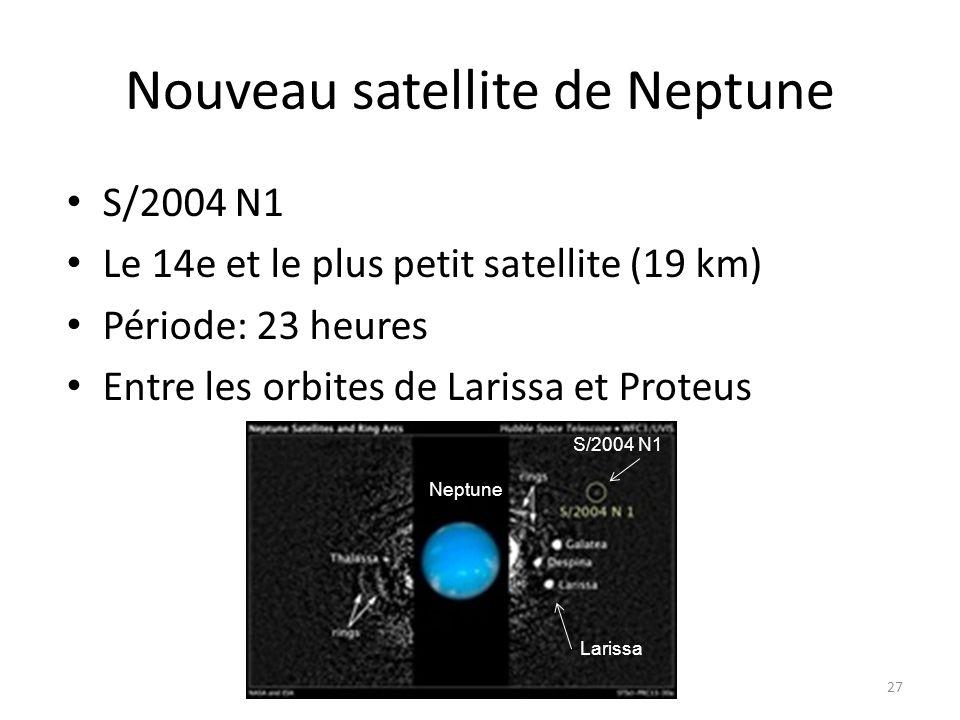 Nouveau satellite de Neptune S/2004 N1 Le 14e et le plus petit satellite (19 km) Période: 23 heures Entre les orbites de Larissa et Proteus 27 Neptune Larissa S/2004 N1
