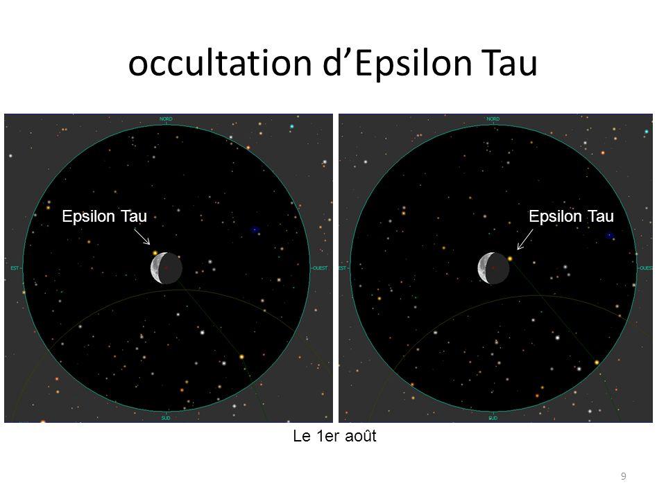 occultation d'Epsilon Tau 9 Le 1er août Epsilon Tau