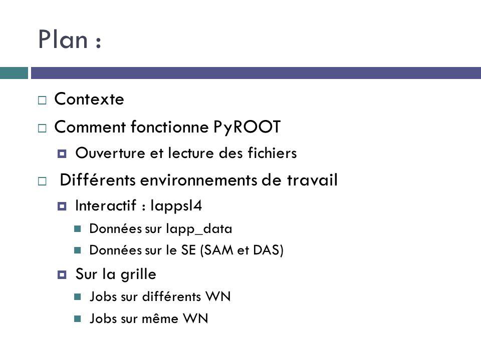 Plan :  Contexte  Comment fonctionne PyROOT  Ouverture et lecture des fichiers  Différents environnements de travail  Interactif : lappsl4 Données sur lapp_data Données sur le SE (SAM et DAS)  Sur la grille Jobs sur différents WN Jobs sur même WN
