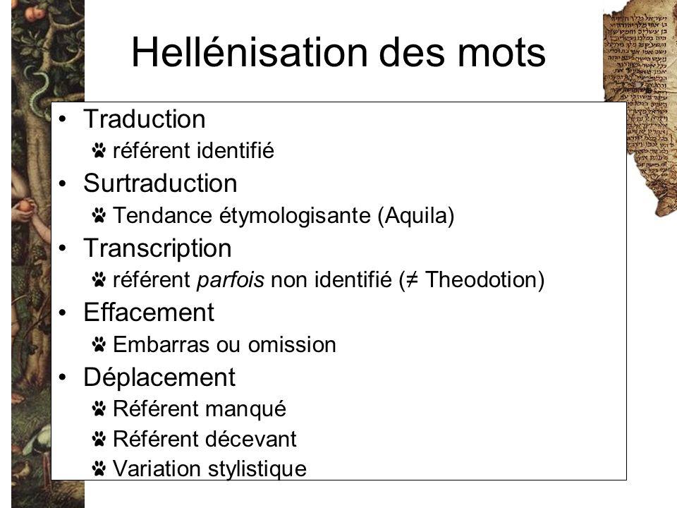 Hellénisation des mots Traduction référent identifié Surtraduction Tendance étymologisante (Aquila) Transcription référent parfois non identifié (≠ Th