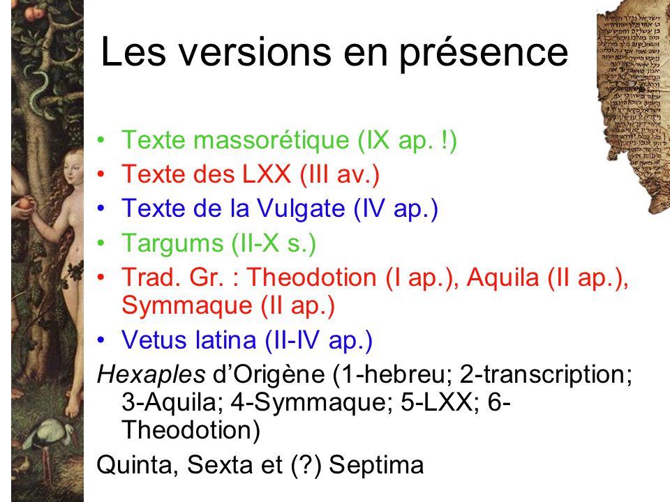 Les versions en présence Texte massorétique (IX ap. !) Texte des LXX (III av.) Texte de la Vulgate (IV ap.) Targums (II-X s.) Trad. Gr. : Theodotion (