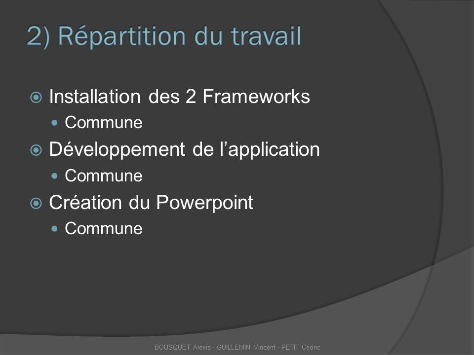  Installation des 2 Frameworks Commune  Développement de l'application Commune  Création du Powerpoint Commune BOUSQUET Alexis - GUILLEMIN Vincent