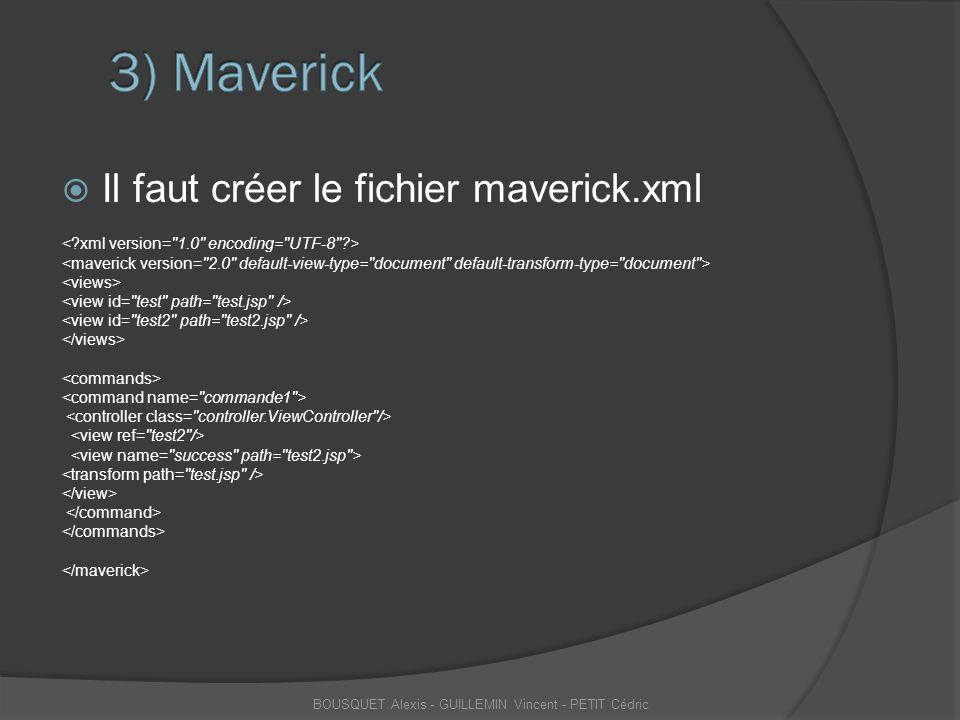  Il faut créer le fichier maverick.xml BOUSQUET Alexis - GUILLEMIN Vincent - PETIT Cédric