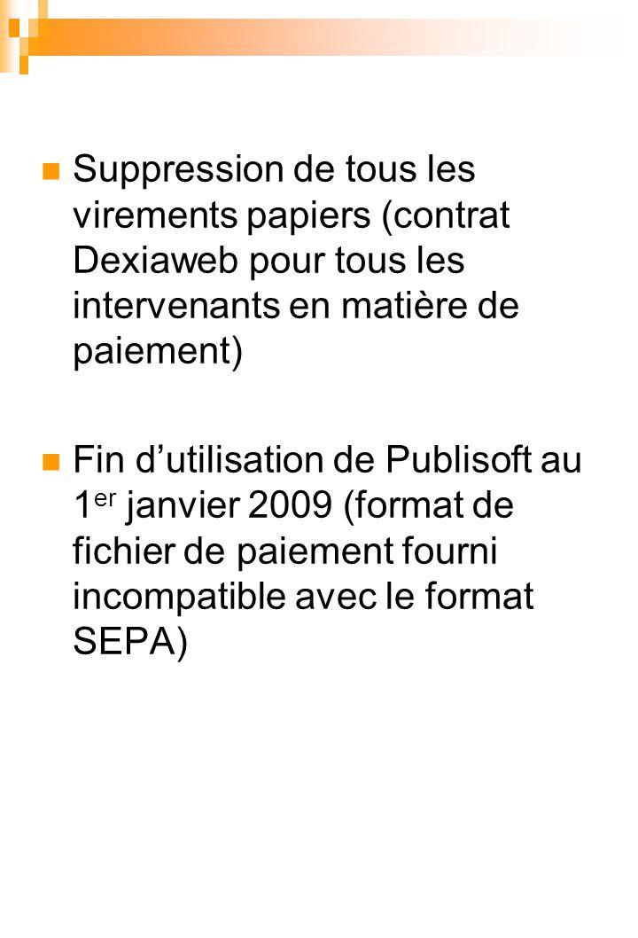 Suppression de tous les virements papiers (contrat Dexiaweb pour tous les intervenants en matière de paiement) Fin d'utilisation de Publisoft au 1 er