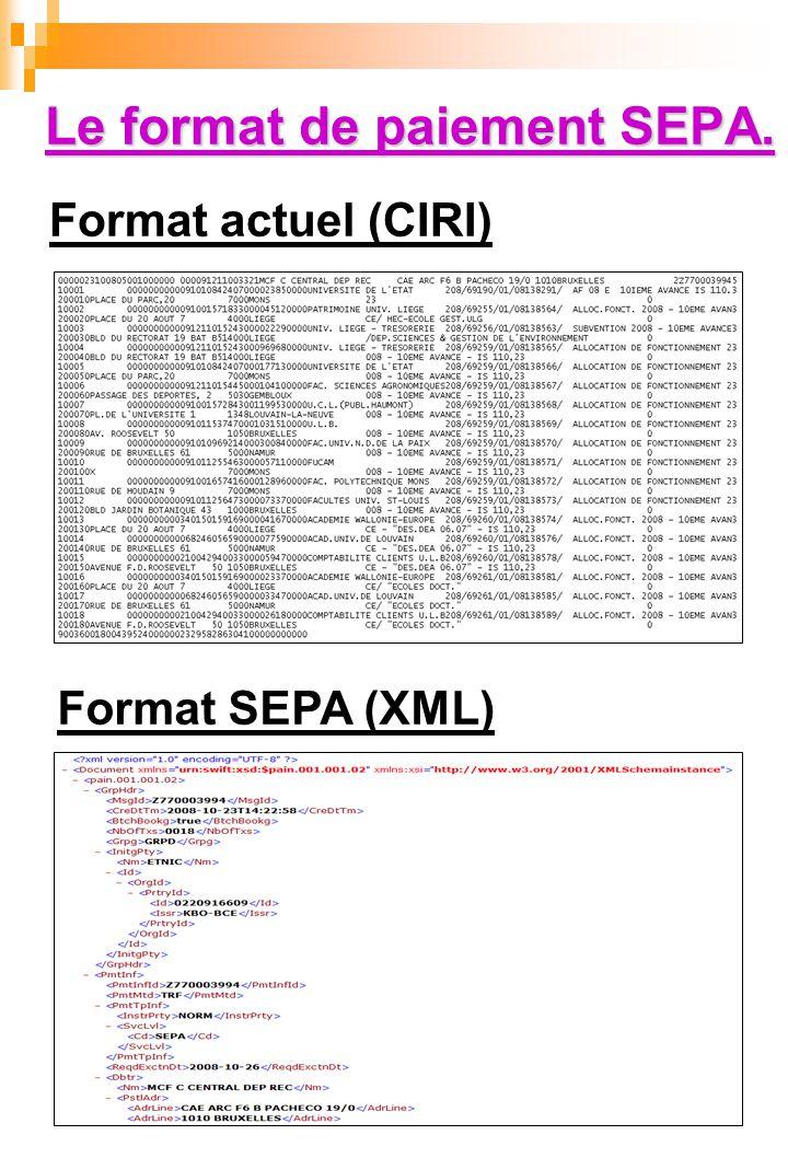 Le format de paiement SEPA. Format actuel (CIRI) Format SEPA (XML)