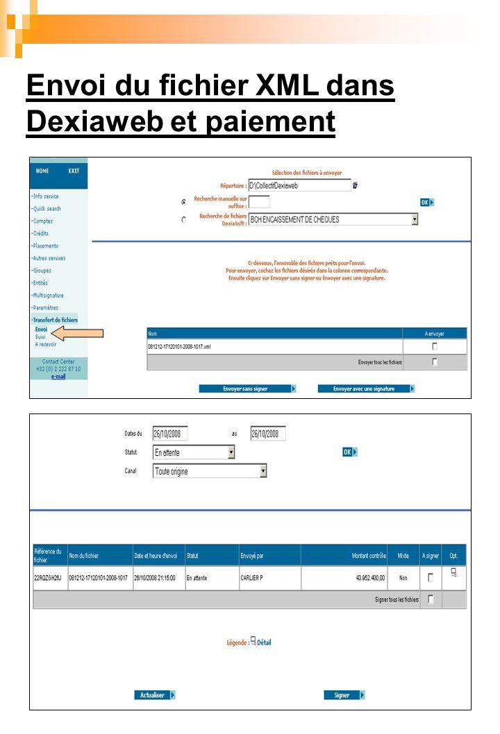 Envoi du fichier XML dans Dexiaweb et paiement