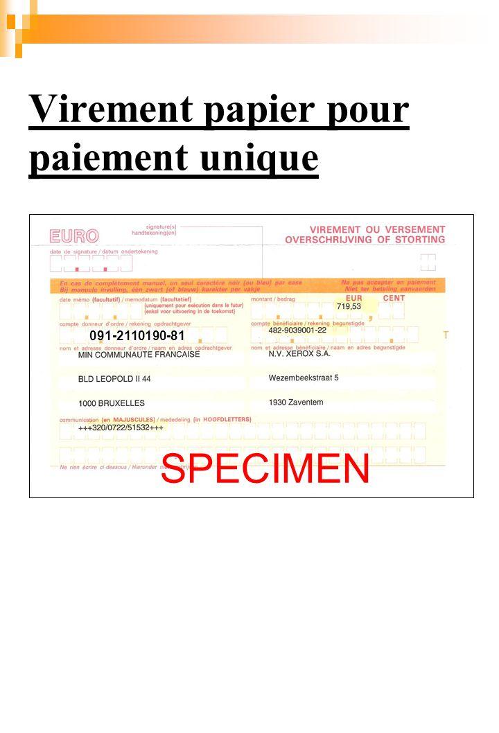 Virement papier pour paiement unique SPECIMEN 091-2110190-81