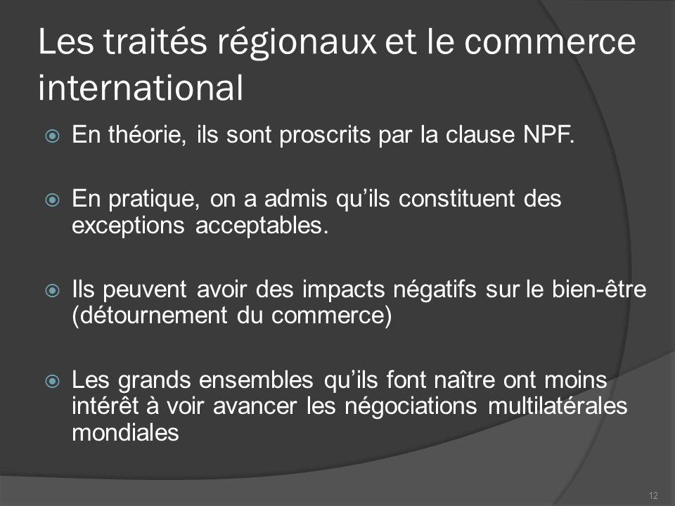 Les accords de libre-échange  Abolition de toutes les barrières tarifaires et non tarifaires entre les adhérents.
