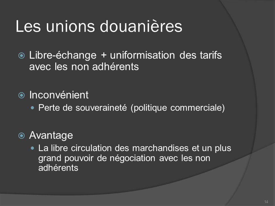 Les marchés communs  Union douanière + libre circulation du travail et des capitaux  Inconvénient Peut entraîner la concentration du capital  Avantage La liberté de travailler partout dans la zone et une plus grande efficacité économique 15