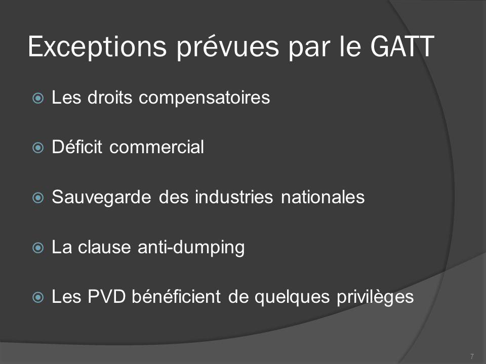 Du GATT à l'OMC : les principaux cycles de négociation  Les années 50  Le cycle Kennedy (1962-1967)  Le cycle de Tokyo (1973-1979)  Le cycle d'Uruguay (1986-1993)  Le cycle de Doha (2001-) 8