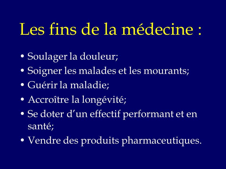 Les fins de la médecine : Soulager la douleur; Soigner les malades et les mourants; Guérir la maladie; Accroître la longévité; Se doter d'un effectif performant et en santé; Vendre des produits pharmaceutiques.