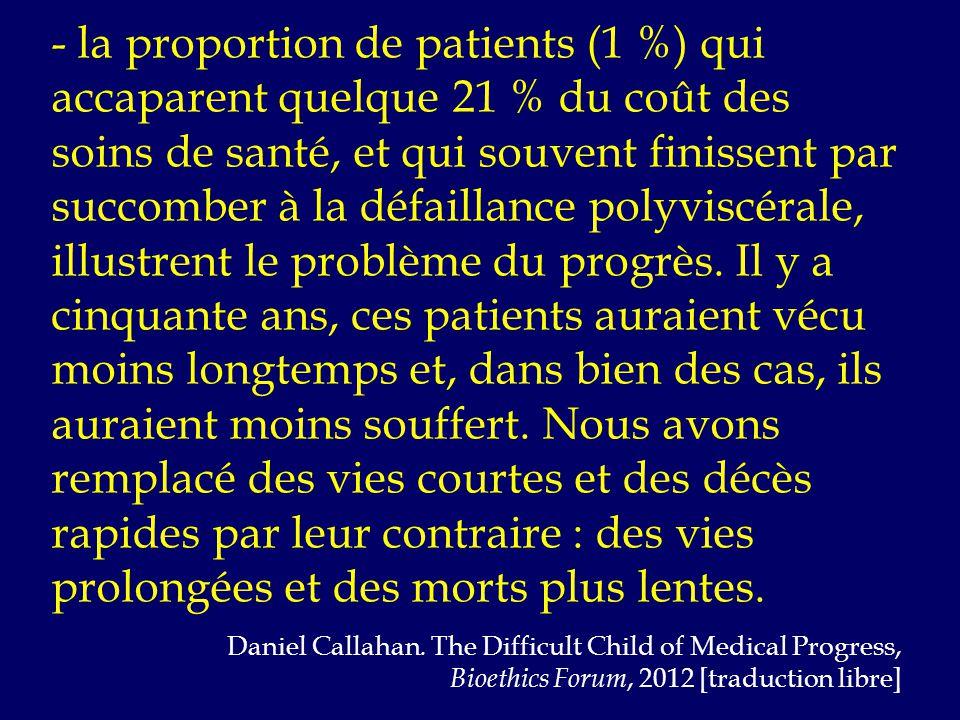 - la proportion de patients (1 %) qui accaparent quelque 21 % du coût des soins de santé, et qui souvent finissent par succomber à la défaillance polyviscérale, illustrent le problème du progrès.