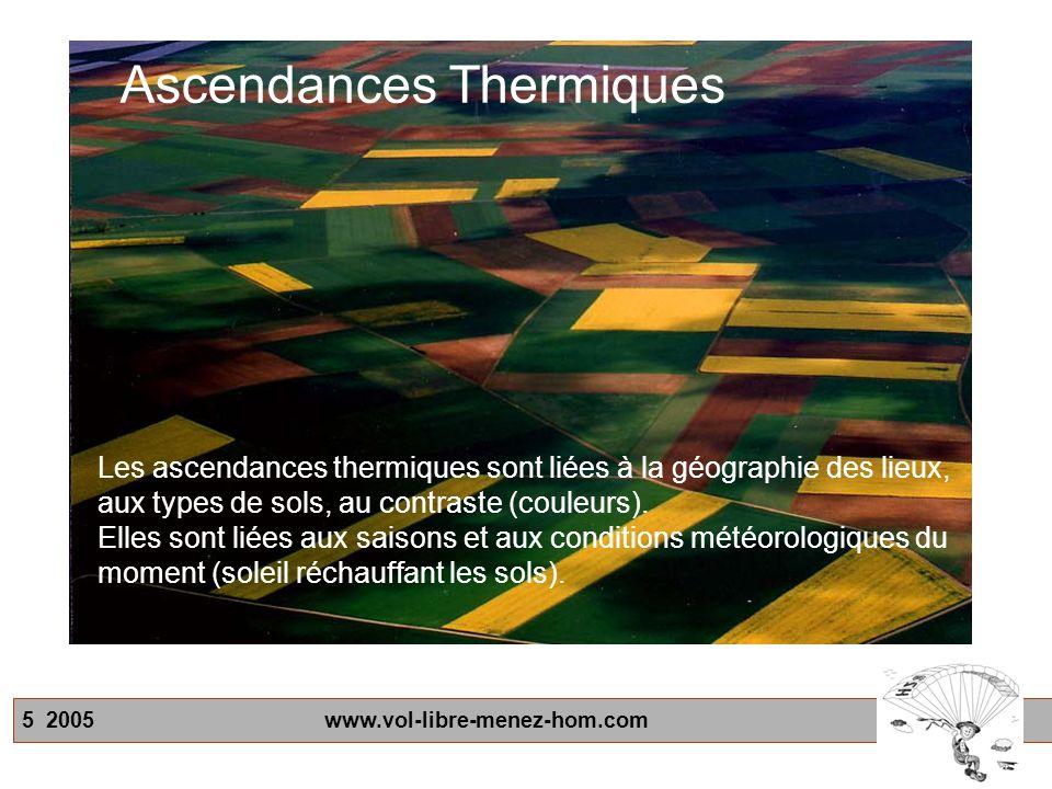 5 2005 www.vol-libre-menez-hom.com Les ascendances thermiques sont liées à la géographie des lieux, aux types de sols, au contraste (couleurs). Elles