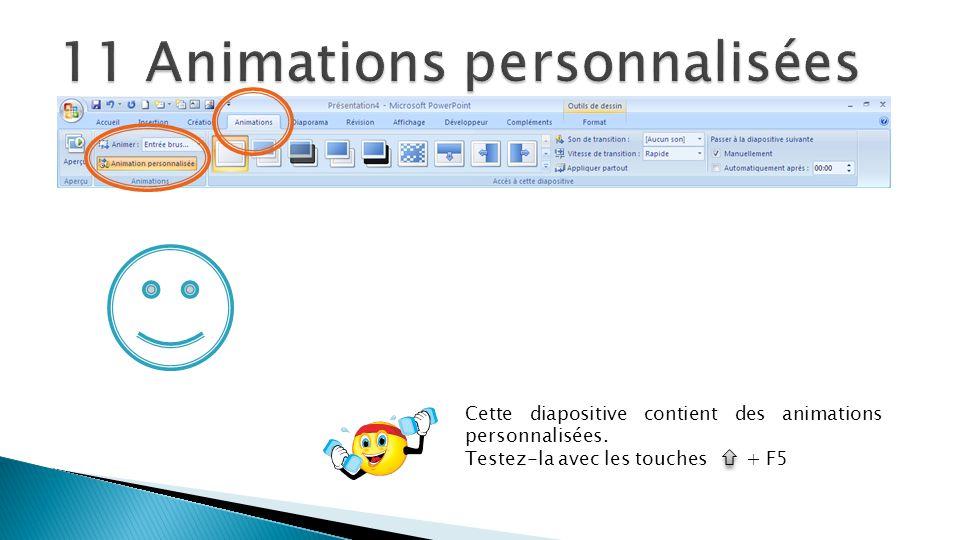 Cette diapositive contient des animations personnalisées. Testez-la avec les touches + F5