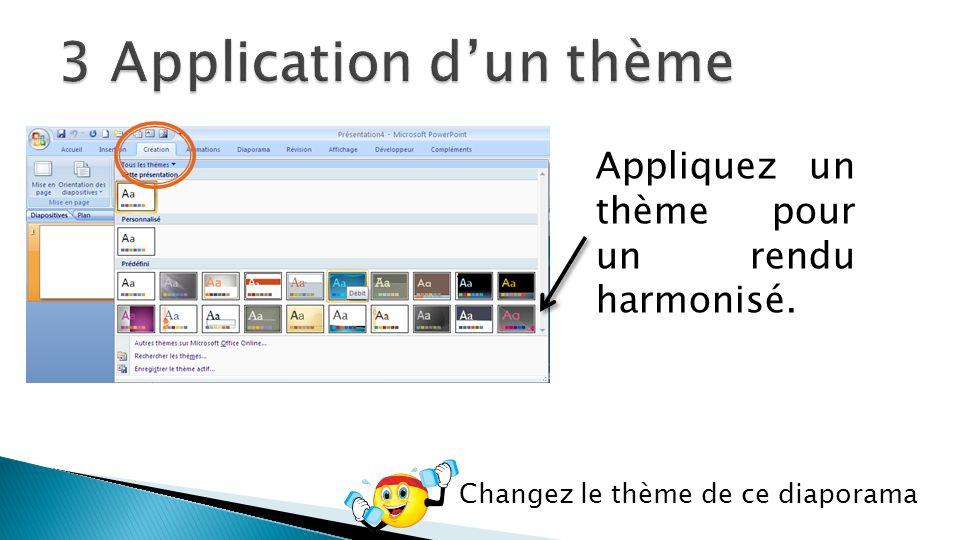 Appliquez un thème pour un rendu harmonisé. Changez le thème de ce diaporama
