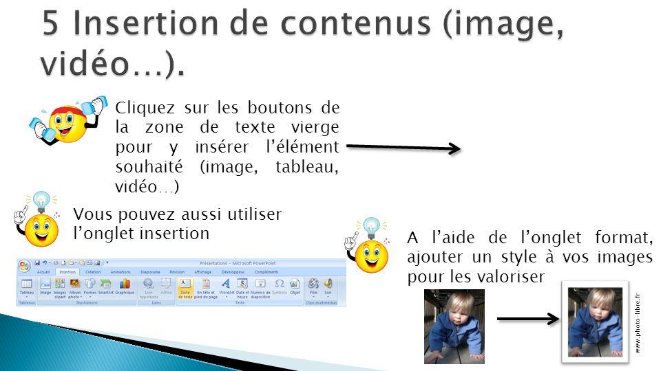 Cliquez sur les boutons de la zone de texte vierge pour y insérer l'élément souhaité (image, tableau, vidéo…) Vous pouvez aussi utiliser l'onglet inse
