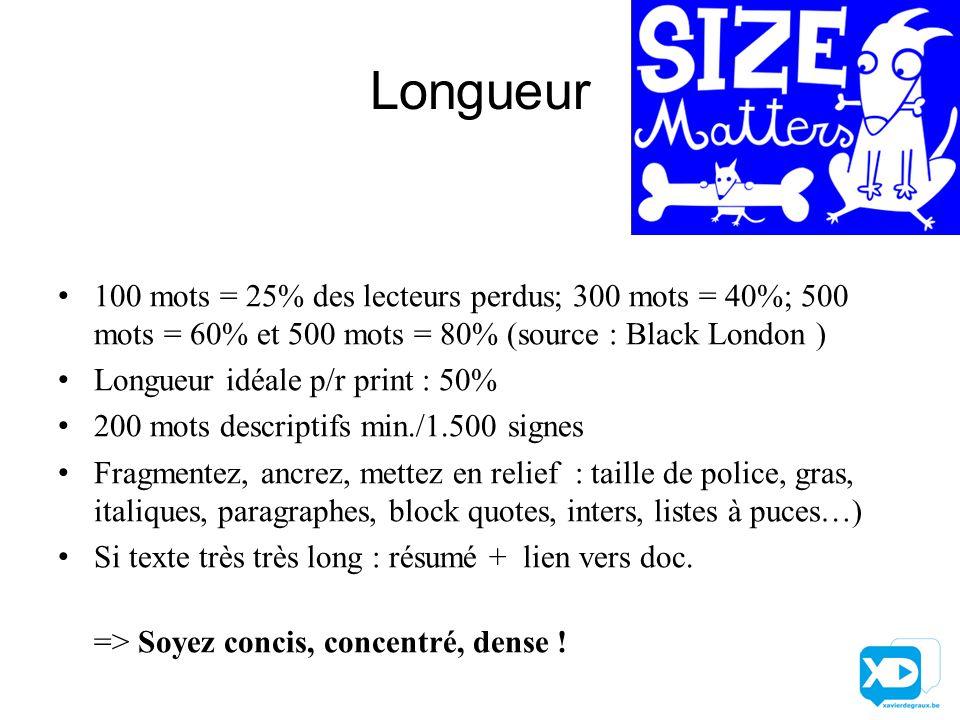 Longueur 100 mots = 25% des lecteurs perdus; 300 mots = 40%; 500 mots = 60% et 500 mots = 80% (source : Black London ) Longueur idéale p/r print : 50%