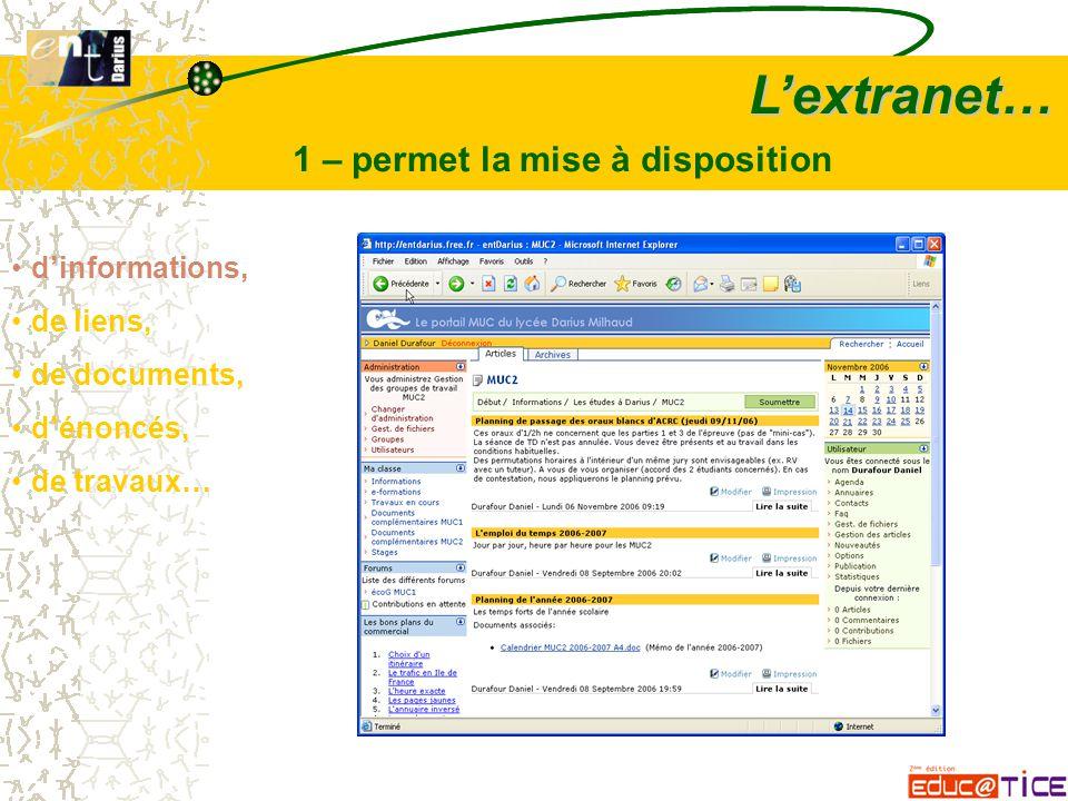 L'extranet… 1 – permet la mise à disposition d'informations, de liens, de documents, d'énoncés, de travaux…