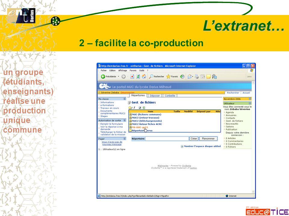 L'extranet… 2 – facilite la co-production un groupe (étudiants, enseignants) réalise une production unique commune