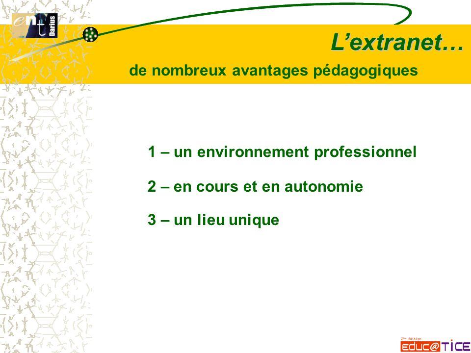 L'extranet… 1 – un environnement professionnel 2 – en cours et en autonomie 3 – un lieu unique de nombreux avantages pédagogiques