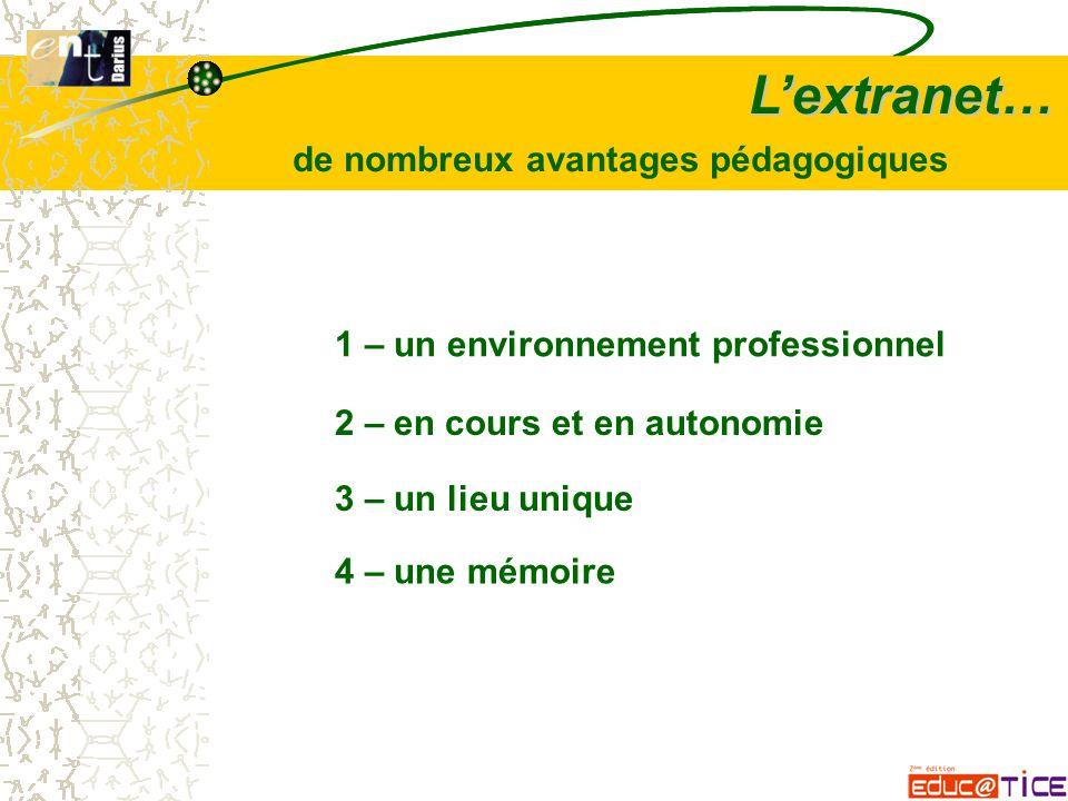 L'extranet… 1 – un environnement professionnel 2 – en cours et en autonomie 3 – un lieu unique 4 – une mémoire de nombreux avantages pédagogiques