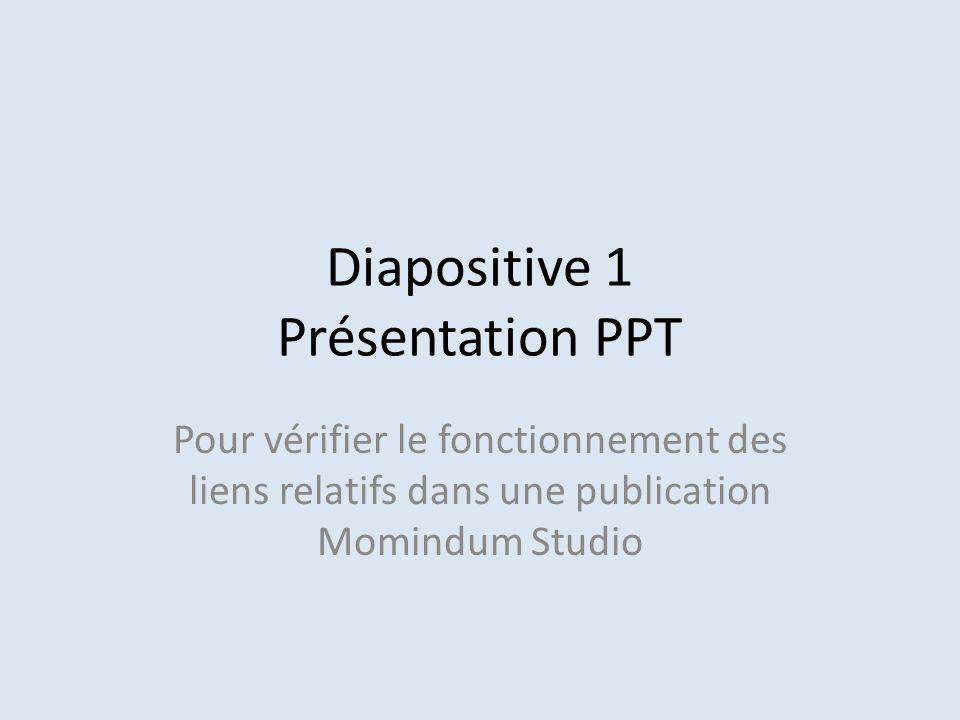 Diapositive 1 Présentation PPT Pour vérifier le fonctionnement des liens relatifs dans une publication Momindum Studio