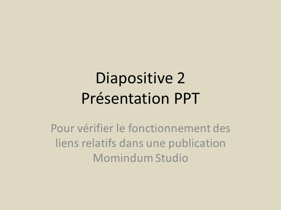 Diapositive 3 Présentation PPT Pour vérifier le fonctionnement des liens relatifs dans une publication Momindum Studio
