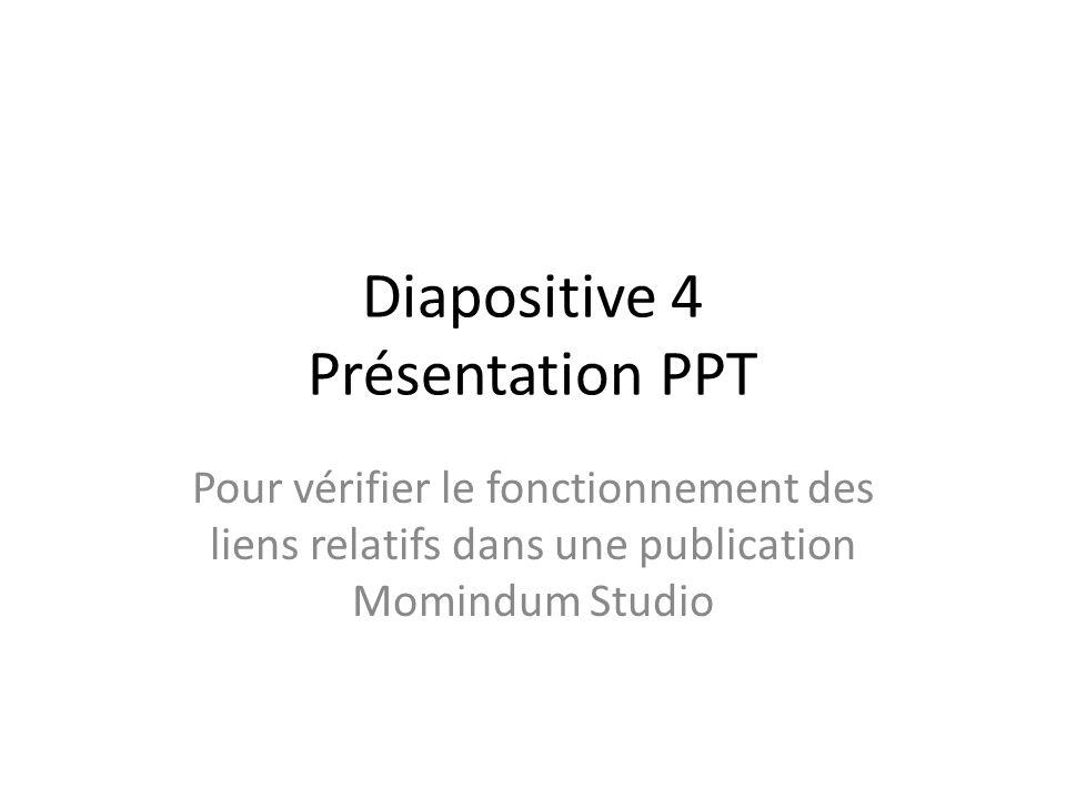 Diapositive 4 Présentation PPT Pour vérifier le fonctionnement des liens relatifs dans une publication Momindum Studio
