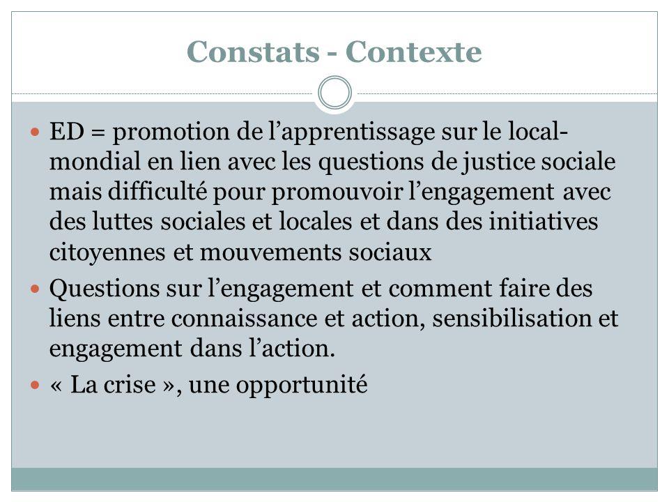 Constats - Contexte ED = promotion de l'apprentissage sur le local- mondial en lien avec les questions de justice sociale mais difficulté pour promouv