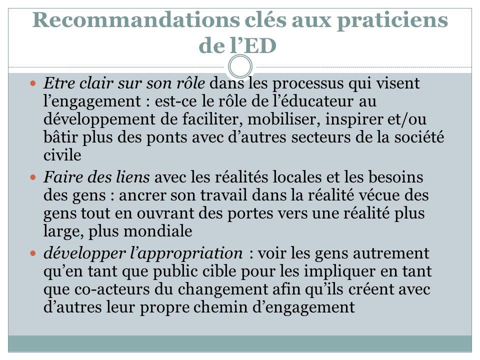 Recommandations clés aux praticiens de l'ED Etre clair sur son rôle dans les processus qui visent l'engagement : est-ce le rôle de l'éducateur au déve