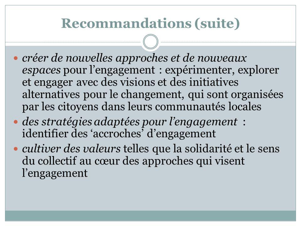 Recommandations (suite) créer de nouvelles approches et de nouveaux espaces pour l'engagement : expérimenter, explorer et engager avec des visions et